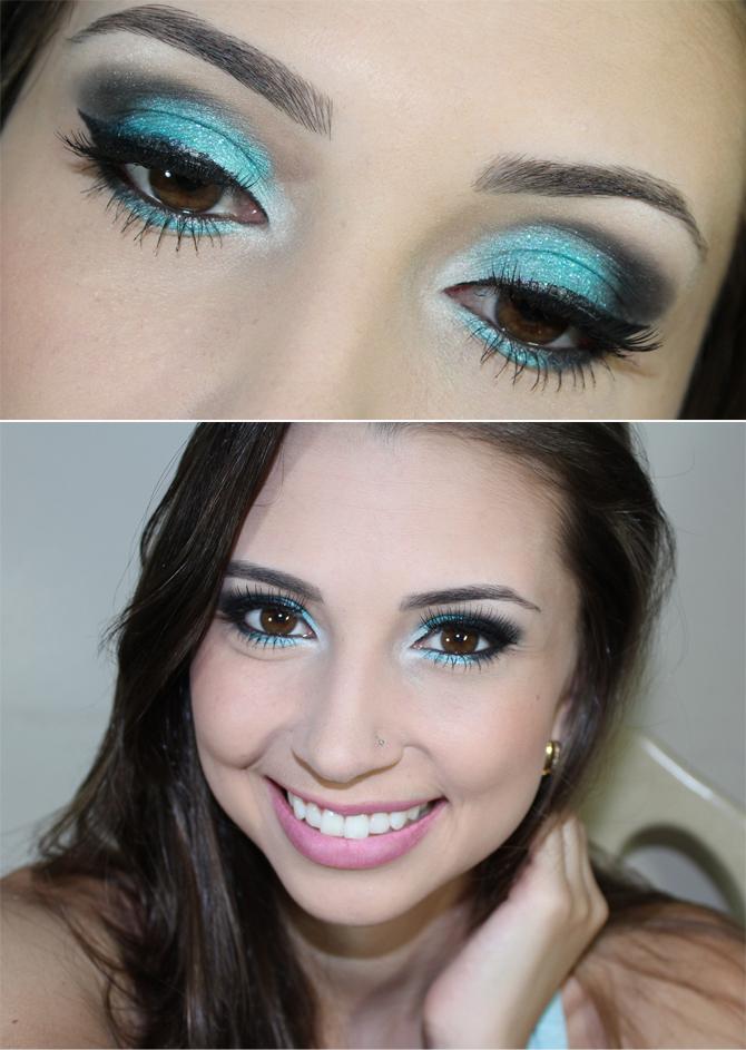 Maquiagem para formatura vestido azul turquesa