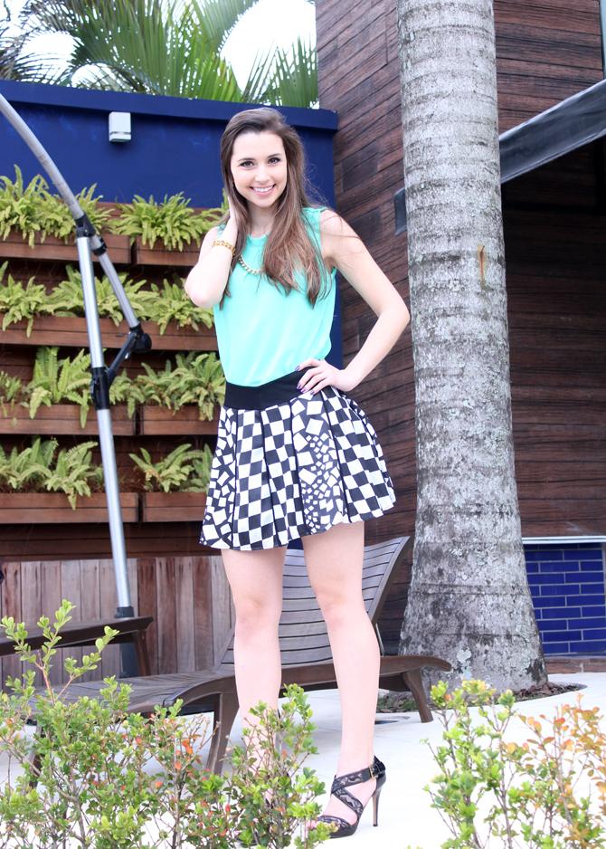 3- look saia quadriculado verão