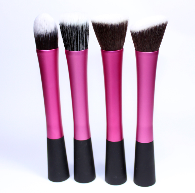 6- pinceis face rosa Make-up e Cia