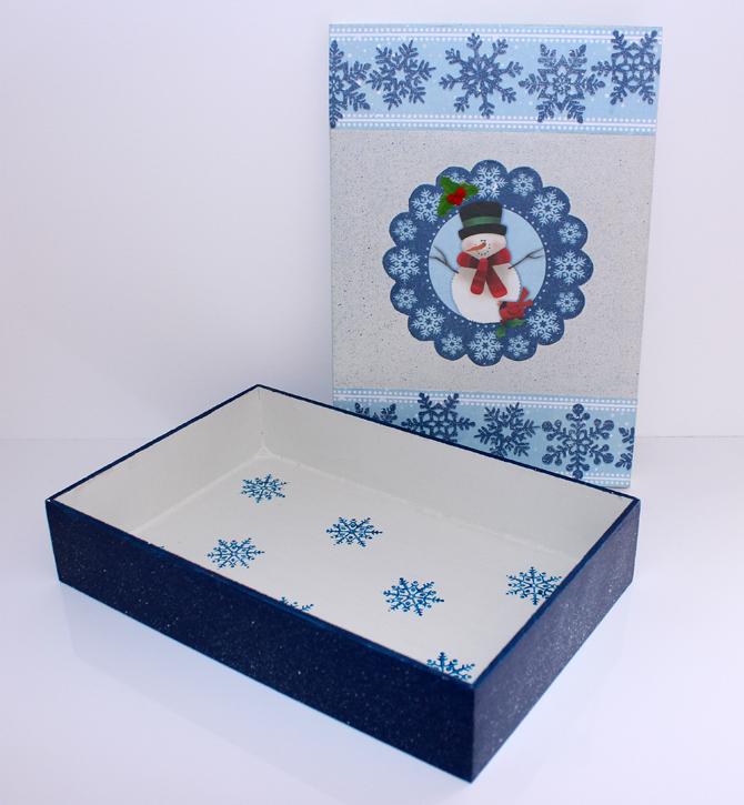 caixa azul personalizada para o natal