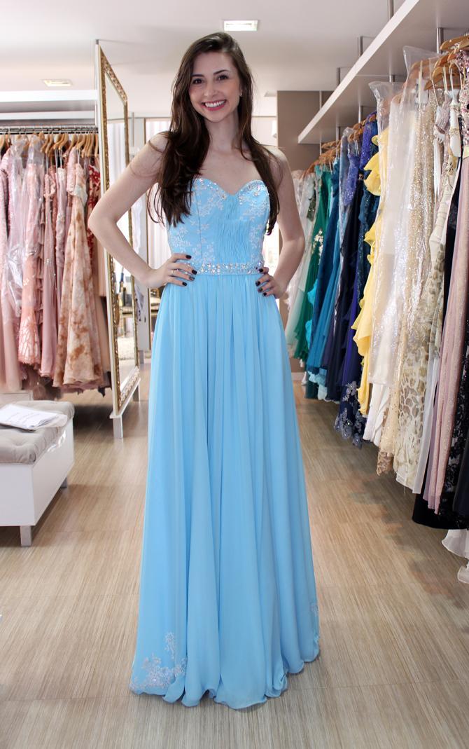 vestido azul claro karla Vivian atelier