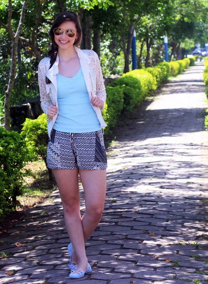 3- look do dia sapatilha zaxy shorts étnico casaco renda sempre glamour jana taffarel