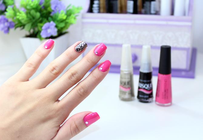 2- esmalte da semana - nail art simples e fácil com passo a passo