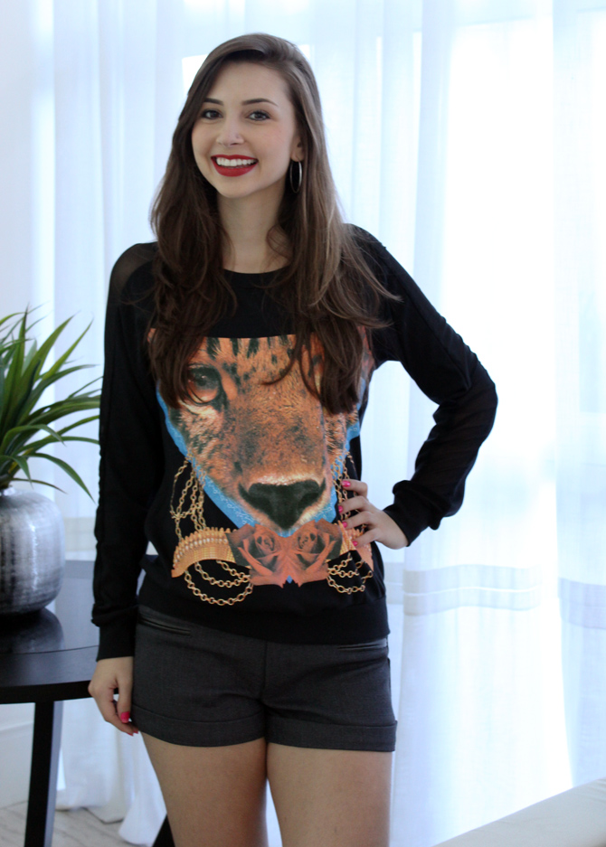01 - look com moletom animal face