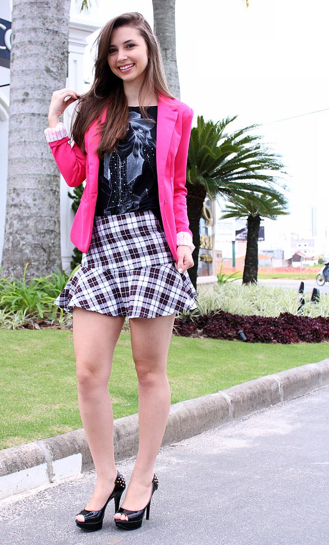 03 - saia xadrez com blazer pink sempre glamour look do dia