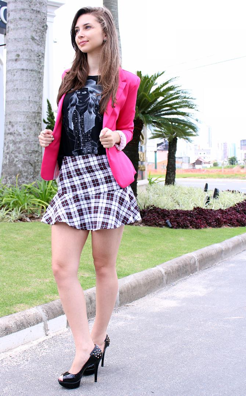 04 - saia xadrez com blazer pink sempre glamour look do dia
