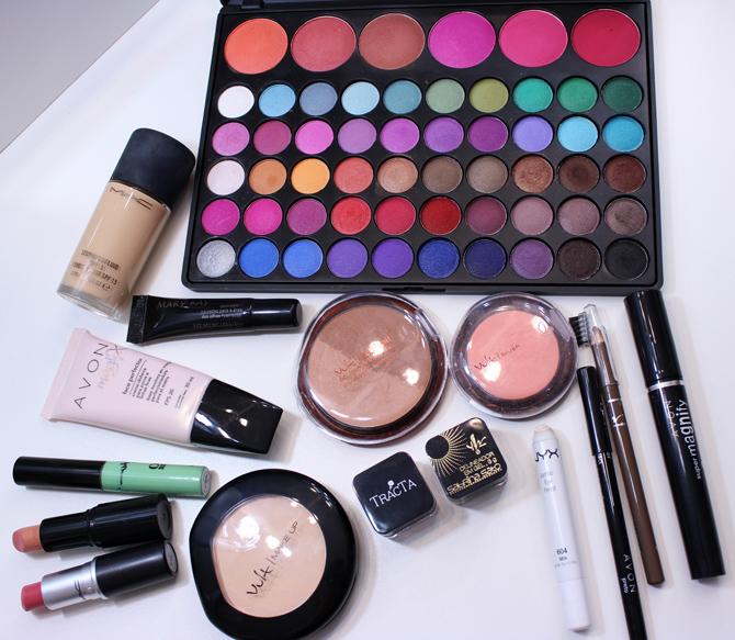 08 produtos usados - tutorial de maquiagem com sombra rosa beata tracta