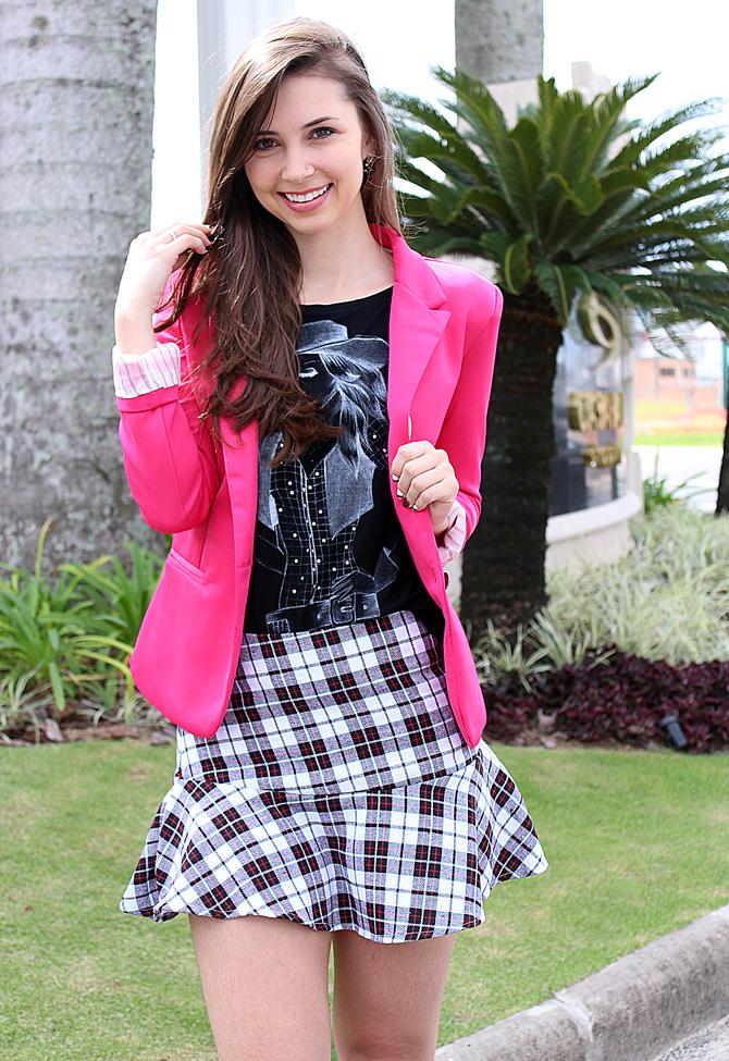 09 - saia xadrez com blazer pink sempre glamour look do dia