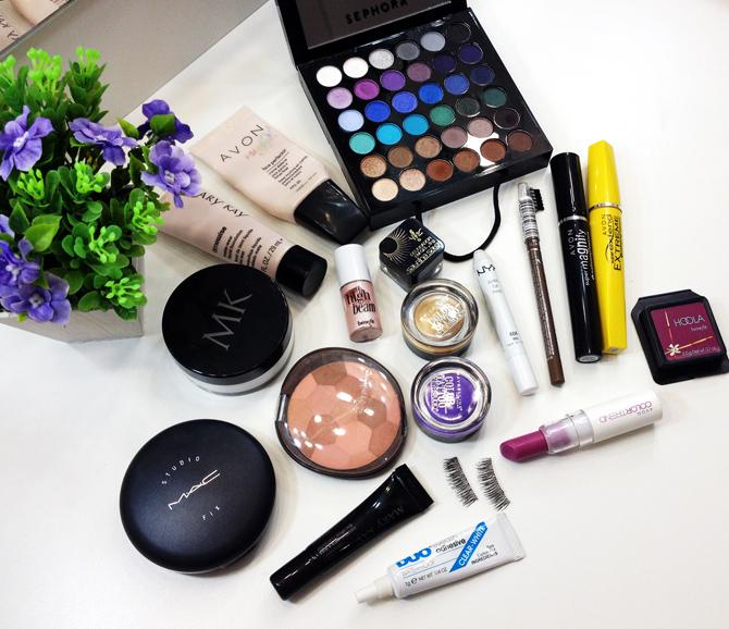 produtos usados tutorial de maquiagem glamour dourado com lilás
