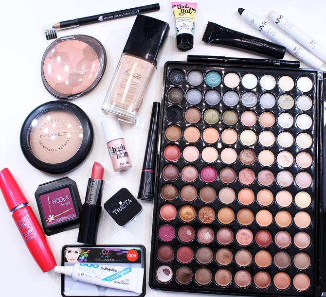produtos usados maquiagem azul para noite