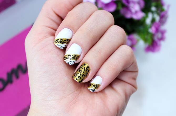 01 - unha decorada de oncinha e zebra dourado sempre glamour beca brait