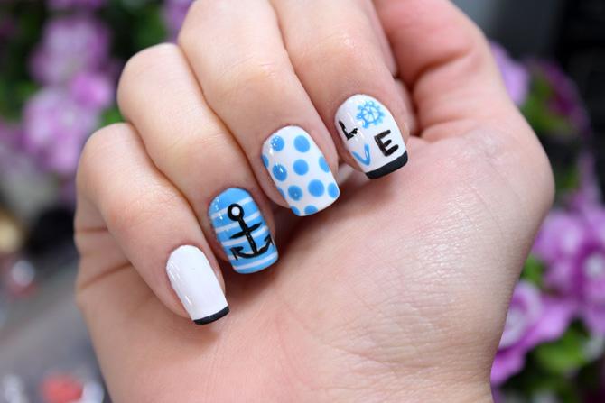 01 - navy nail unhas decoradas marinha marinheiro