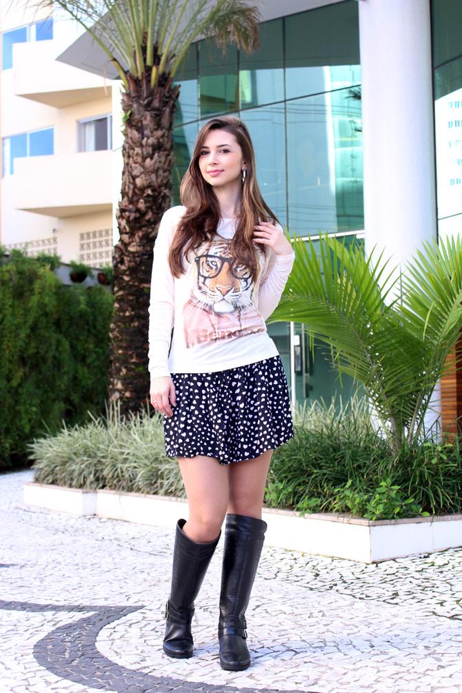 03 - saia de corações e blusa animal face sempre glamour
