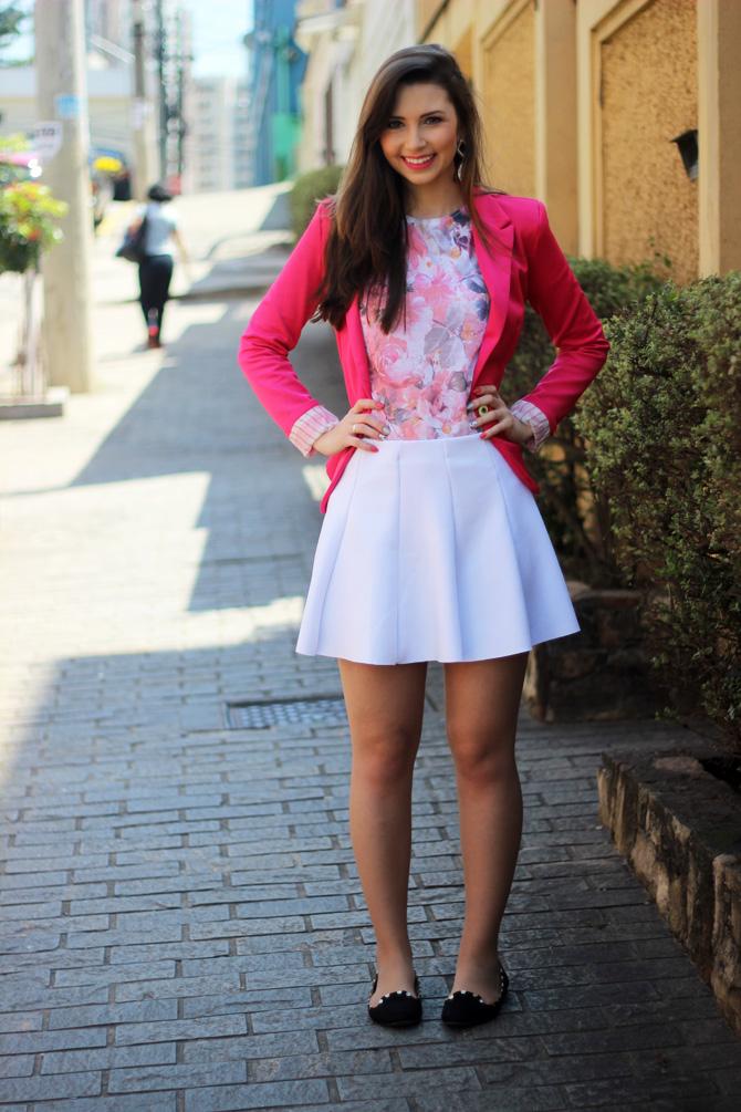 01- saia branca rodada riachuelo e blazer rosa pink