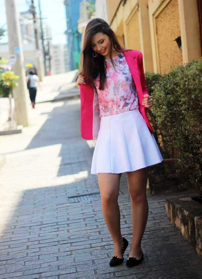 02 - saia branca rodada riachuelo e blazer rosa pink