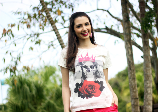 05 - look do dia shorts rosa e t-shirt