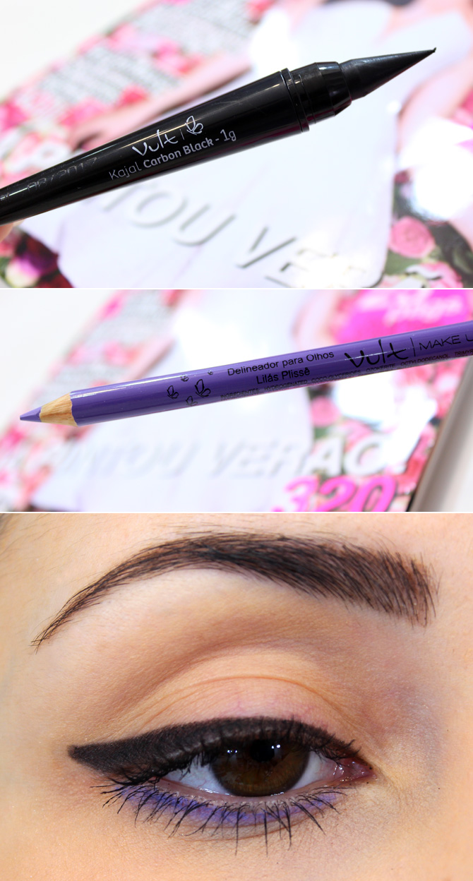 07 - kajal carbon black e lápis para os olhos lilás plissê vult