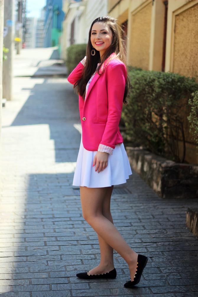 08 - saia branca rodada riachuelo e blazer rosa pink