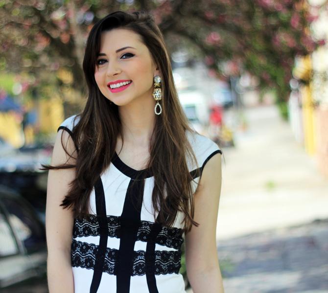 10 - vestido branco e preto pré requisito sempre glamour