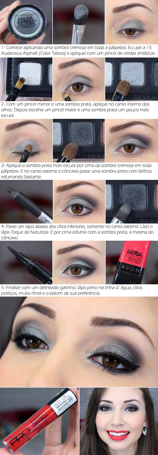 tutorial em foto maquiagem prata com batom vermelho