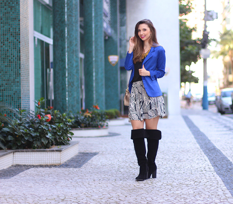 4-look do dia com blazer azul bic