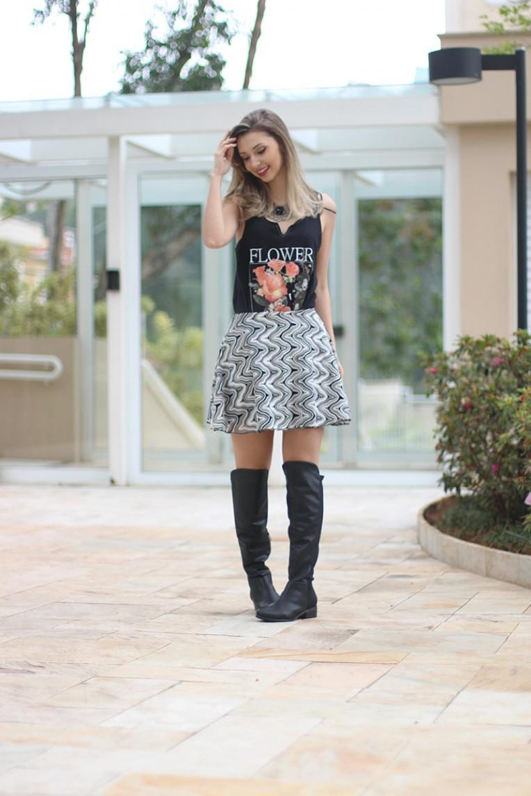 2-look do dia saia bota over the knee e blusa pkd concept