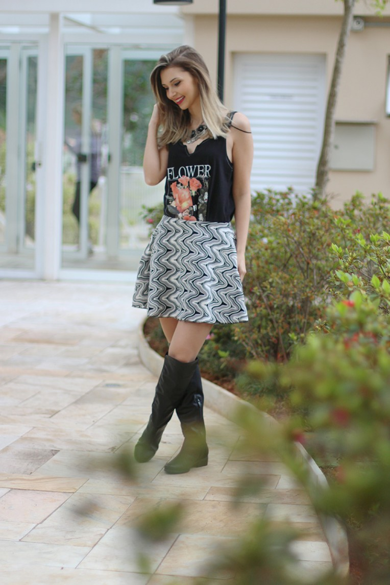 4-look do dia saia bota over the knee e blusa pkd concept