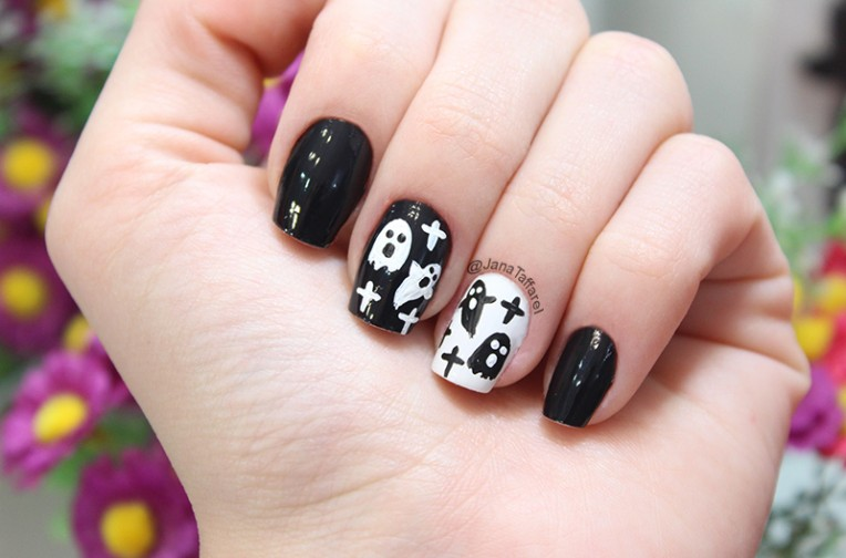 1-unhas decoradas de fantasmas do halloween