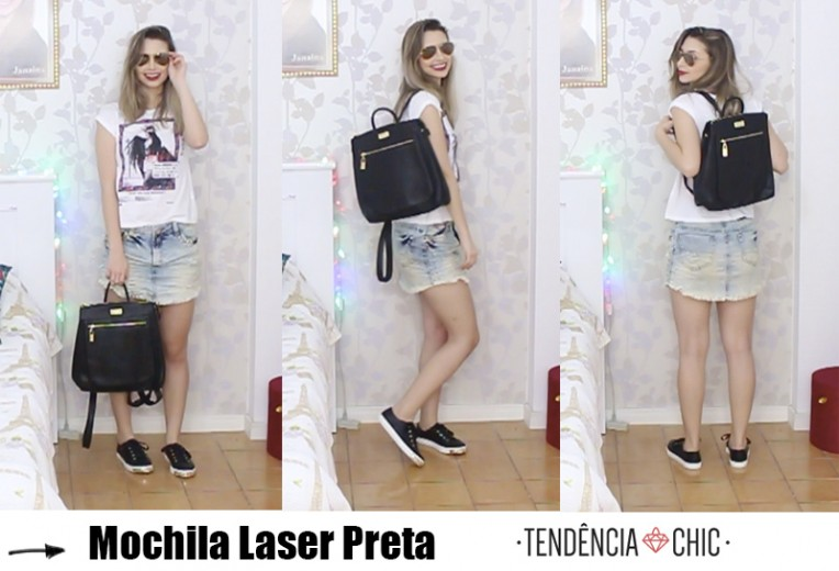 5- mochila laser preta tendência chic