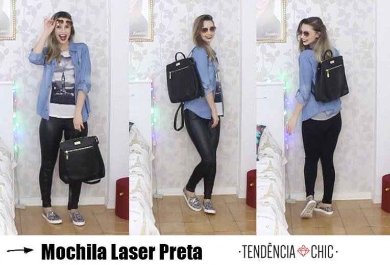 6- mochila laser preta tendência chic