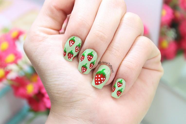 1-unhas decoradas de morangos