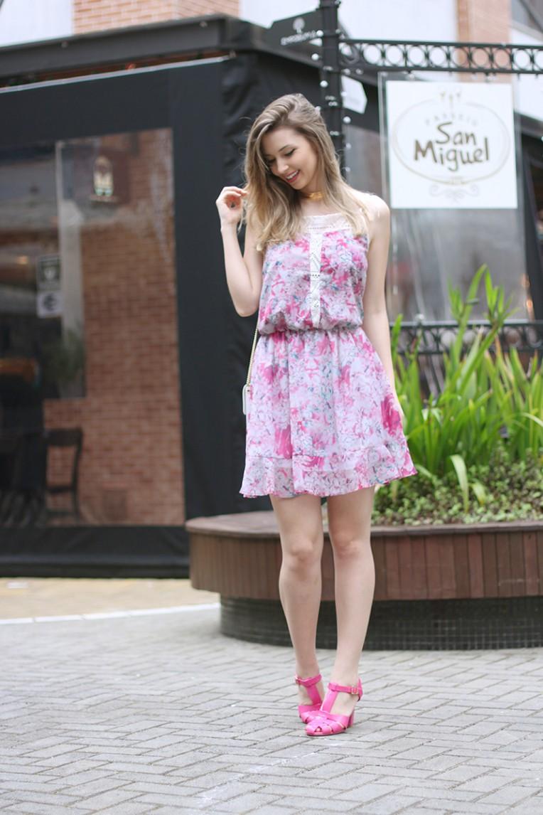 2-vestido estampado rosa para o verão