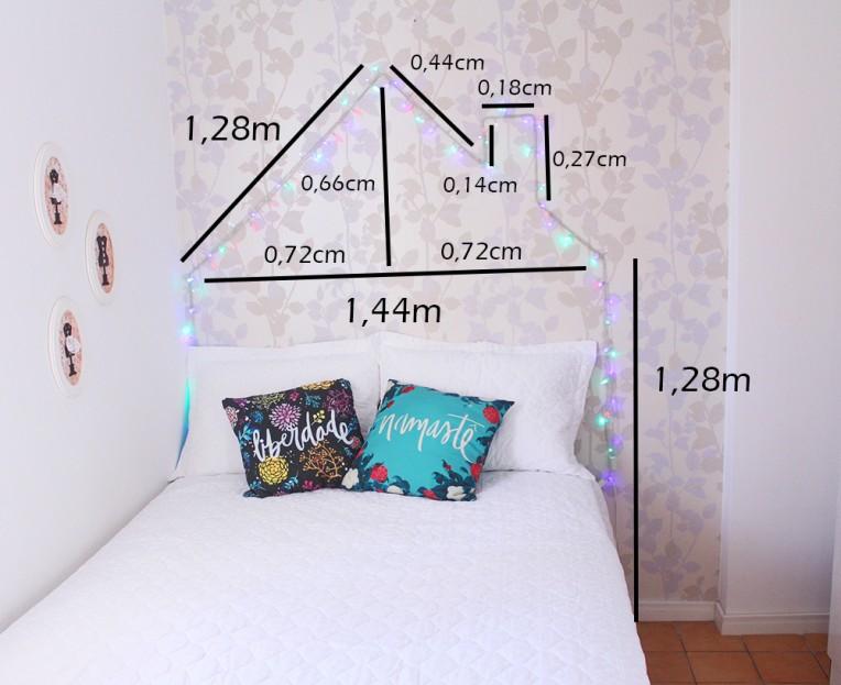 2-cabeceira de pisca pisca em forma de casa - decoração de quartos