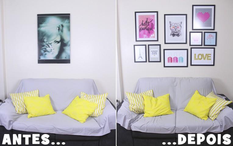 sala com parede de quadros antes e depois